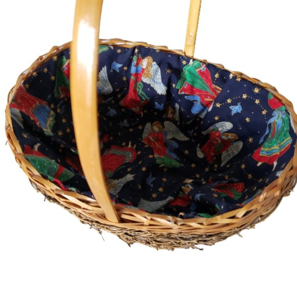 Vintage Fabric Lined Wicker Woven Basket Christmas